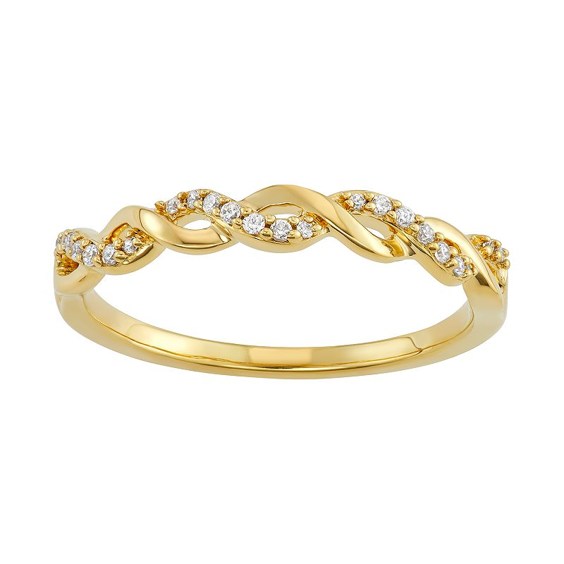 Simply Vera Vera Wang 14k Gold 1/10 Carat T.W. Diamond Twist Ring. Women's. Size: 6. White