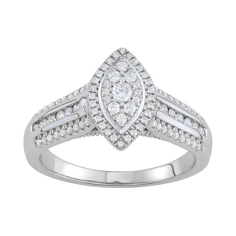 Simply Vera Vera Wang 14k White Gold 1/2 Carat T.W. Diamond Marquise Engagement Ring. Women's. Size: 6