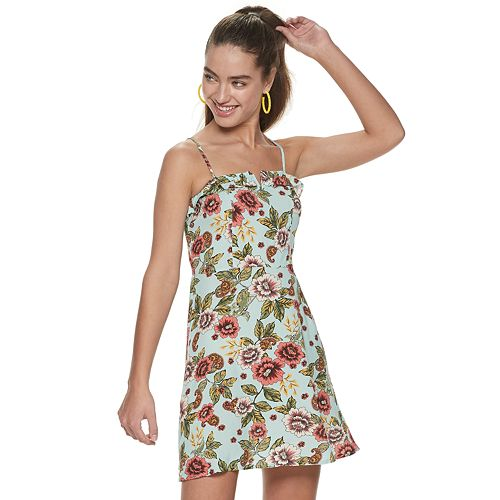 Juniors' Live To Be Spoiled Floral Skater Dress