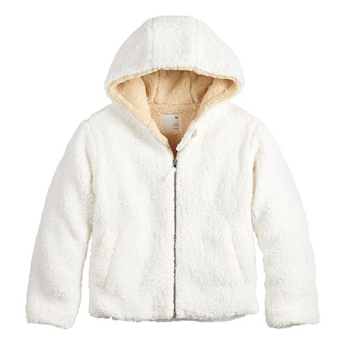 Girls 7-20 SO® Zip-Front Sherpa Jacket