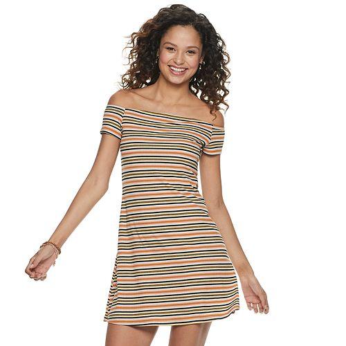 Juniors SO® Off the Shoulder Rib Dress