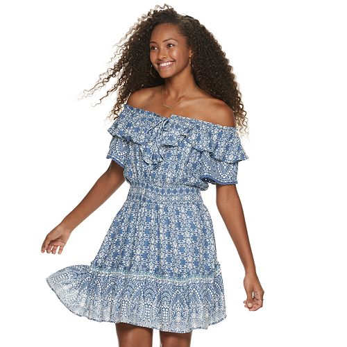 e1fe082995356 Juniors' American Rag Off-The-Shoulder Smocked Waist Dress
