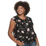 Juniors' American Rag Pleat/Side Ruffle Top