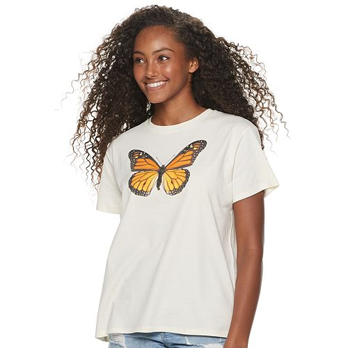 Juniors' Butterfly Graphic Tee