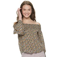 ef479d0613d3a1 Juniors' Rewind Smocked Yoke and Cuff Off the Shoulder Top