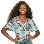 Juniors' American Rag Ruched Front Short Sleeve Top