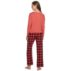 Juniors' SO® Pajama Top & Flannel Pants Pajama Set