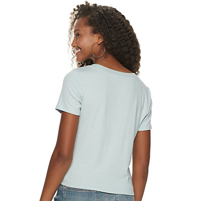 Juniors' American Rag Stripe Top with Buttons at Side Seams