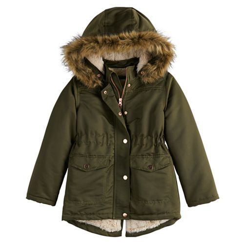 Girl's 4-20 SO® Faux Fur Lined Anorak Jacket