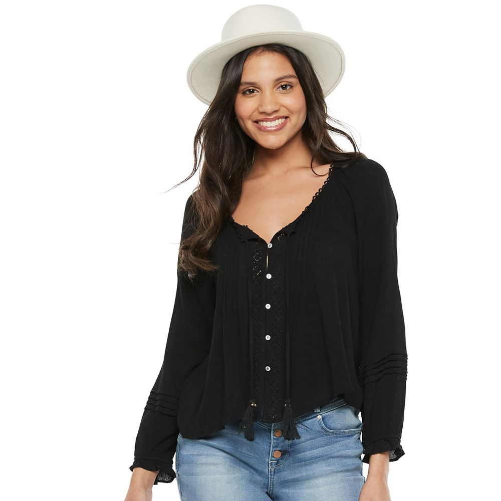 Juniors' American Rag Lace Mix Peasant Top