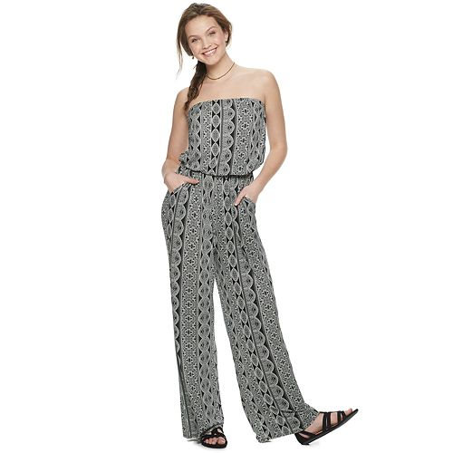 Juniors' Pink Republic Tube Knit Jumpsuit