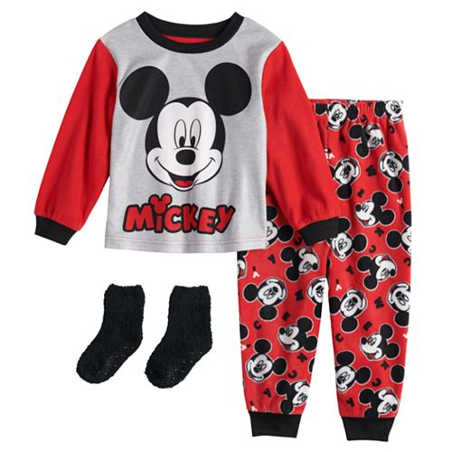 Disney's Mickey Mouse Toddler Boy Fleece Top & Bottom Pajama Set with Socks