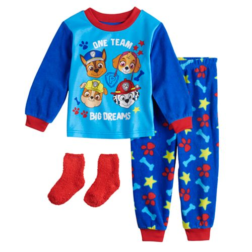 Toddler Boy PAW Patrol Fleece Top & Bottom Pajama Set with Socks