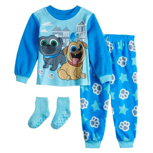 Disney's Puppy Dog Pals Toddler Boy Fleece Top & Bottom Pajama Set with Socks