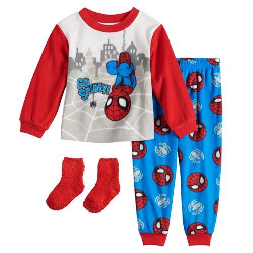 Toddler Boy Marvel Super Hero Adventures Fleece Top & Bottom Pajama Set with Socks