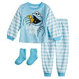 Toddler Boy Sesame Street Cookie Monster Fleece Top & Bottom Pajama Set with Socks