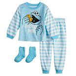 Toddler Boy Sesame Street Cookie Monster Fleece Top & Bottom Pajama Set with Socks