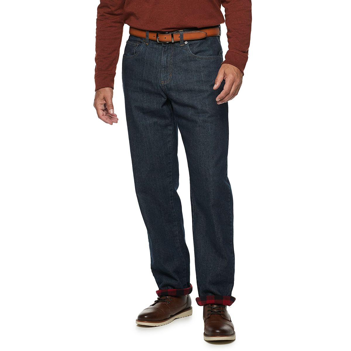 Croft & Barrow Mens Straight-Fit Flannel-Lined Jeans