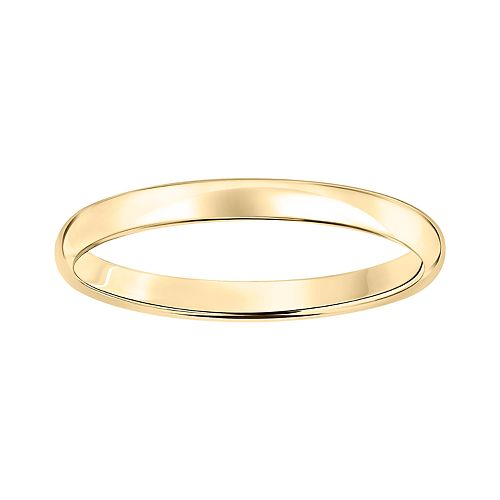 10k Gold 2 mm Polished Dome Wedding Band
