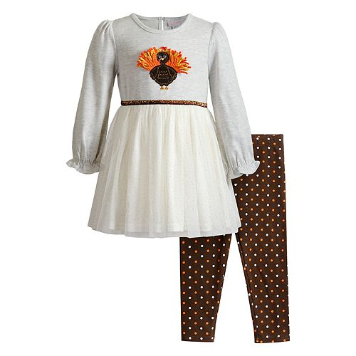 Toddler Girl Youngland Turkey Tulle Dress & Leggings Set