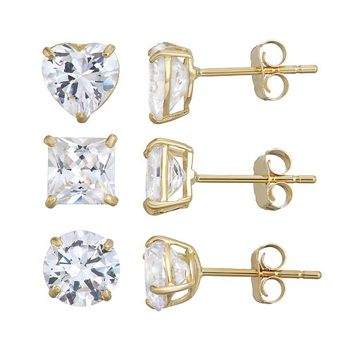 Taylor Grace Cubic Zirconia 10k Gold Stud Earring Trio Set