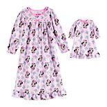 Toddler Girl Disney's Minnie Mouse Nightgown with Matching Doll Gown