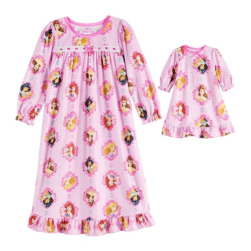 Toddler Girl Disney's Princess Nightgown with Matching Doll Gown