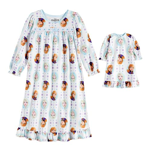 Toddler Girl Disney's Frozen 2 Anna & Elsa Nightgown with Matching Doll Gown