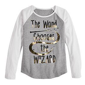 Girls 7-16 Harry Potter Wand Chooses Wizard Long Sleeve Tee Shirt