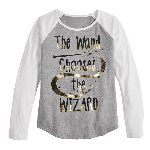 Girls 7-16 Harry Potter Wand Chooses Wizard Long Sleeve Tee Shirt