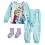 Toddler Girl Disney's Frozen Anna & Elsa Fleece Top & Bottom Pajama Set with Socks