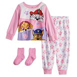 Toddler Girl Paw Patrol Fleece Top & Bottom Pajama Set with Socks