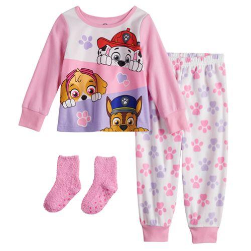 Toddler Girl Paw Patrol Fleece Top & Bottom Pajama Set with Socks