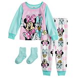 Toddler Girl Disney's Minnie Mouse Top & Bottom Pajama Set with Socks