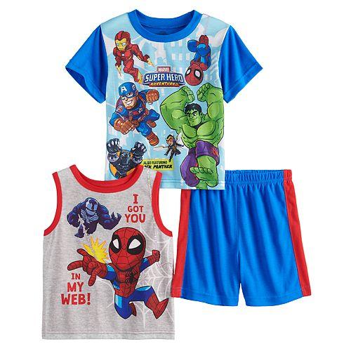 Toddler Boy Marvel Super Hero Tops & Shorts Pajama Set