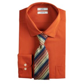 Men's Croft & Barrow® Regular-Fit Stretch Collar Dress Shirt and Patterned Tie Boxed Set