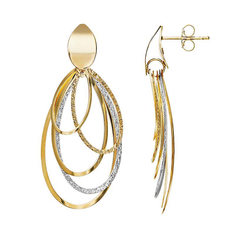 14k Gold Oval Dangle Drop Earrings. Women's. Multicolor