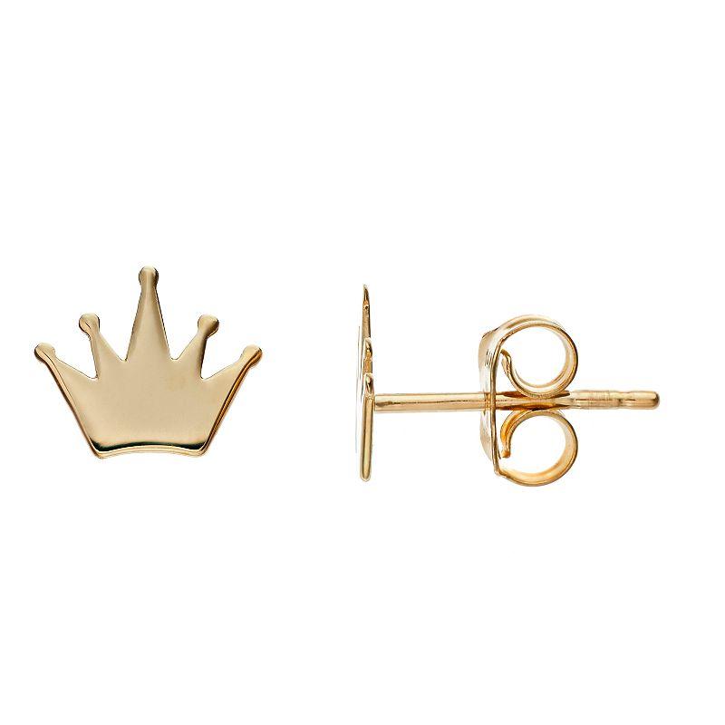 14k Gold Crown Stud Earrings. Women's. Yellow