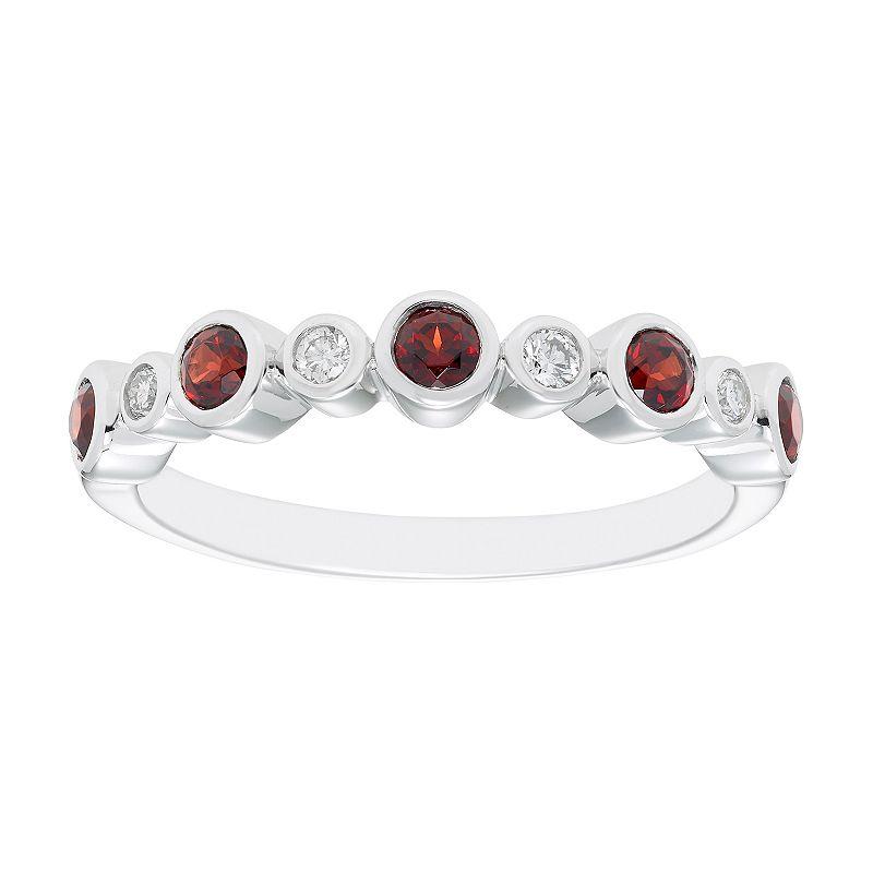 Boston Bay Diamonds Sterling Silver Gemstone & Diamond Accent Ring. Women's. Size: 5. Red