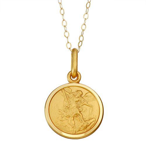 14k Gold St  Michael Medal Pendant Necklace