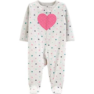 Baby Girl Carter's Heart 2-Way Zip Cotton Sleep & Play