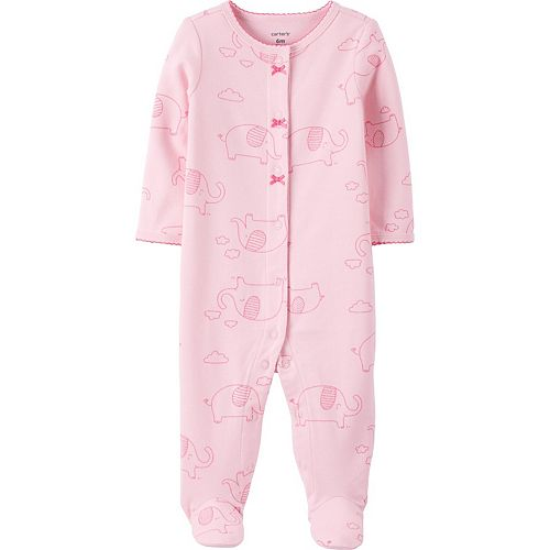 Baby Girl Carter's Elephant Snap-Up Cotton Sleep & Play