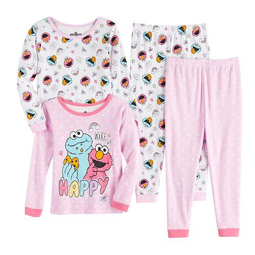 Toddler Girl's Elmo & Cookie Monster Top & Bottom Pajama Set
