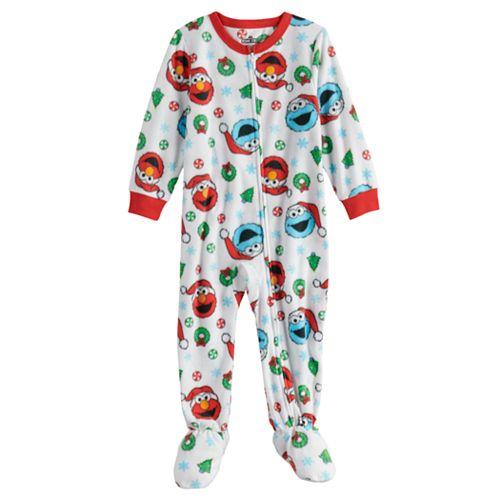 Toddler Boy Sesame Street Elmo & Cookie Monster Fleece Footed Pajamas