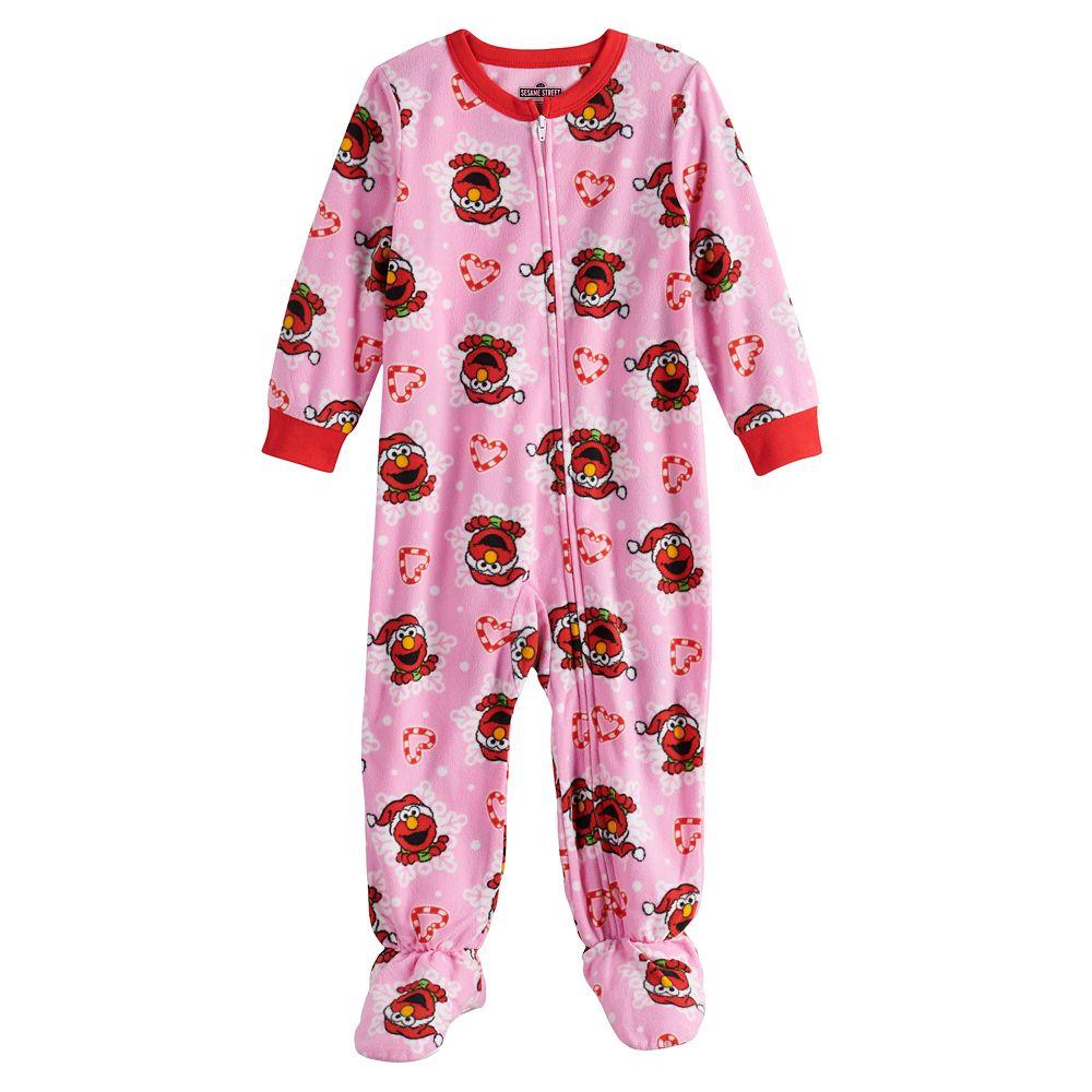 Toddler Girl Sesame Street Elmo Christmas Fleece Footed Pajamas