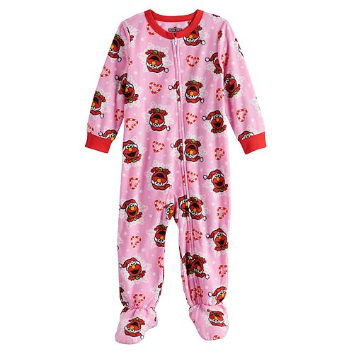 Toddler Girl Sesame Street Elmo Christmas Fleece Footed Pajamas