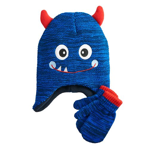 Baby Boy ABG 2 Piece Monster Beanie & Mittens Set