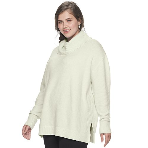 Juniors' Plus Size SO® Cowlneck Tunic Sweater