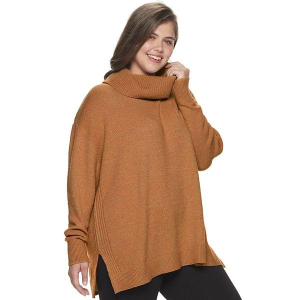 Juniors Plus Size So Cowlneck Tunic Sweater