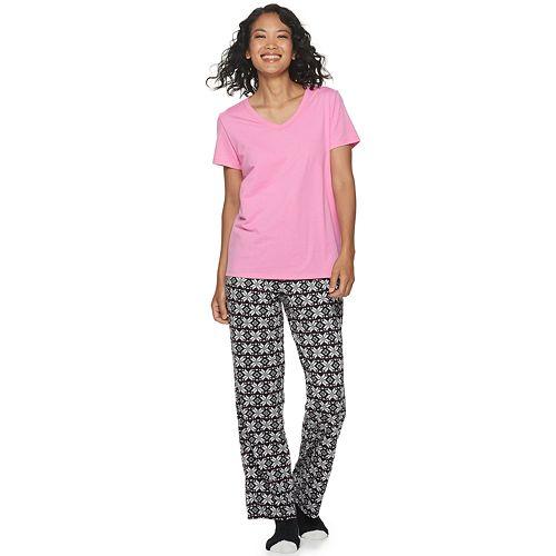 Women's Croft & Barrow® 3 Piece Short Sleeve Pajama Set with Sock